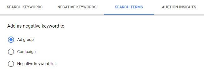 negative keywords level
